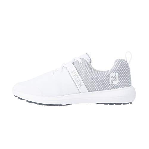 FootJoy Women's Flex Golf Shoe, White/Grey, 8.5 Wide
