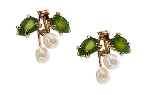 Base Metal Stud Cultured Freshwater White Pearl Earrings made with Nephrite Jade Leaves 4.0-6.0 MM