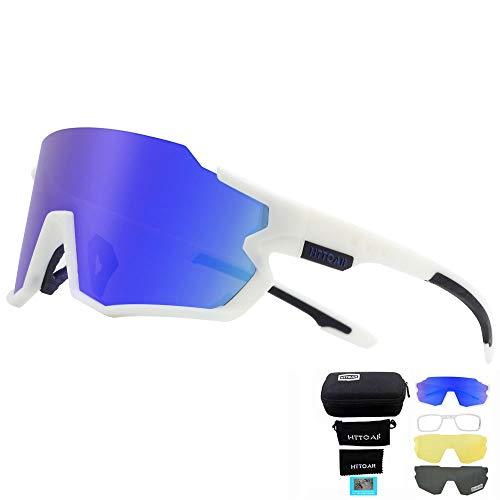 Gafas de sol deportivas polarizadas Ciclismo para hombres y mujeres Correr Pesca Golf TR90 Marco Protección UV400 (Blanco)