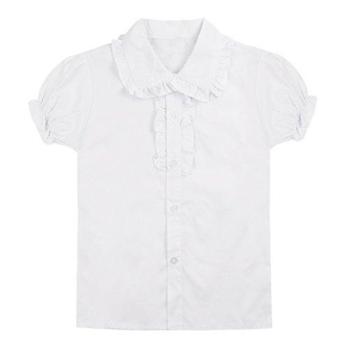 iiniim Mode Chemises Cérémonie Fête Party Enfant Fille Blanc Dentelle Bulles Manches Courtes Lapel Tunique Coton Bouton Shirt Casual Uniformes École Blanc 12-13 Ans