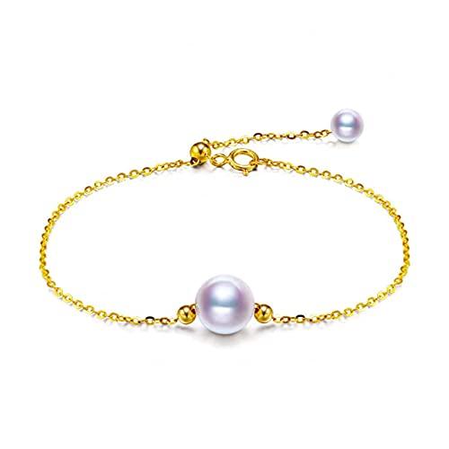 WJCRYPD Pulseras para Mujer Pulsera de Perlas de Oro de 18k Redonda de joyería de Perlas de Agua Dulce Natural de Las Mujeres Regalo de Boda 18 cm Qf Shop (Color : 18cm)