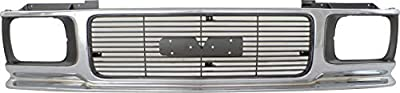 Grille Assembly Compatible with 1992-1994 GMC Jimmy ABS Plastic Chrome Shell/Painted Gray Insert