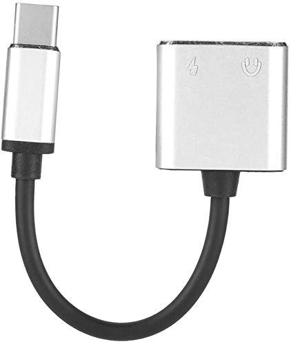 Adaptador convertidor de audio, cable adaptador de carga de audio 2 en 1 de 3,5 mm tipo C, adaptador de audio para auriculares para Samsung S8, práctico convertidor de conector tipo C a 3,5 mm (rojo)