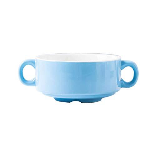 JLWM Cuenco para Sopa con 2 Asas, Color Liso Cuencos para Sopa con Asas De Porcelana Cerámico Horno Microonda Jarra Taza para Horneando Huevo Al Vapor Postre-Brillante-Azul