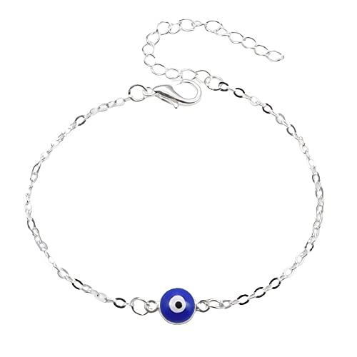 Collar de ojo malvado para mujer chapado en oro de 14 quilates lindo delicado solitario zirconia cúbica protección boho ojo malvado minimalista collar simple regalo