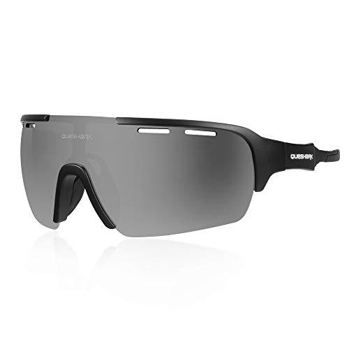 Queshark Sport Sonnenbrille Fahrradbrille Sportbrille mit UV400 4 Wechselgläser inkl Schwarze polarisierte Linse für Outdooraktivitäten wie Radfahren Laufen Klettern (C01)