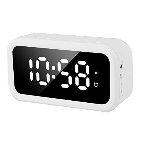 Lairun Bluetooth-Lautsprecher, Stereo-Player Intelligenter digitaler Wecker zur Rauschunterdrückung, wiederaufladbar für zu Hause(White)