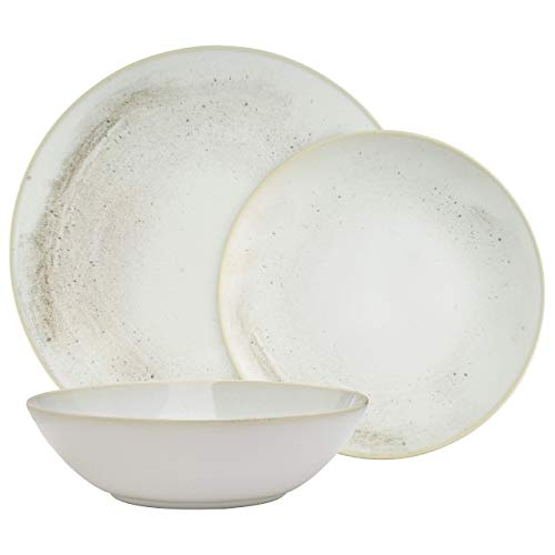 Amazon Brand – Stone & Beam Erie Rustic Reactive-Glaze Stoneware 18-Piece Dinnerware Set, Service for 6, Organic Speckled