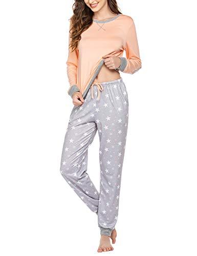 Schlafanzug Lang Damen Winter Pyjama Set Zweiteiliger Sleepwear Langarm Nachtwäsche Lang Hausanzug mit Karierte Hose Herbst Rosa für Frauen XXL