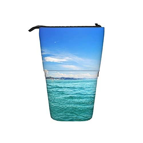 Caja telescópica lápiz bolsa bolso de la pluma del faro de Mar Veleros de lápiz del organizador del lápiz del bolso cosmético