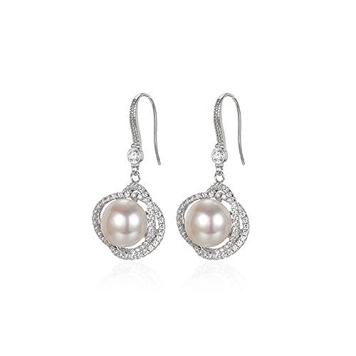 zhaohupinpai Pendientes de Perlas de Agua Dulce cultivadas Artificiales de 9 mm, Pendientes de Perlas de circonita con Incrustaciones de Plata esterlina S925, Gotas para los oídos Elegantes y de Moda