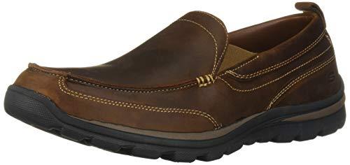 Skechers Men's Superior Gains Loafer, Dark Brown, 6.5 M US