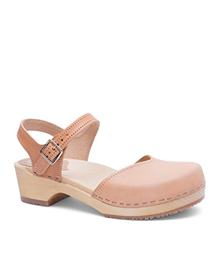 Sandgrens Swedish Wooden Low Heel Clog Sandals for Women US 775 | Saragasso Nude Veg EU 38