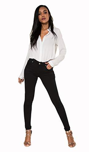 Crazy Age Farbige Damen Jeans Push Up Jeanshose Skinny Elastisch Top Qualität (Schwarz, L~38)