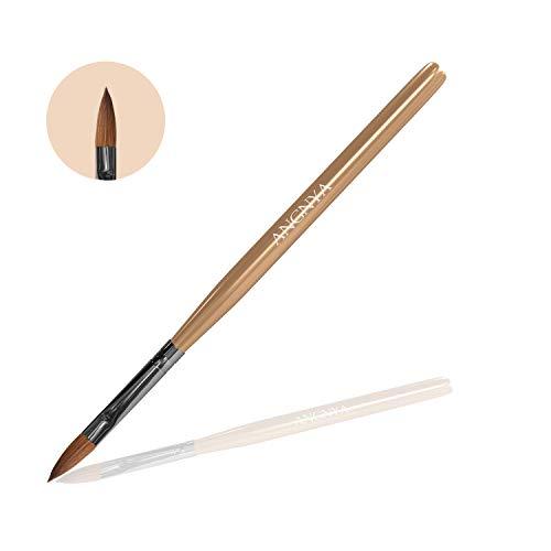 ANGNYA 1 Stück Kolinsky Sable Haar Nagelpinsel für Acrylnägel Acryl Nail art Pinsel Professionelle Nagelkunstwerkzeuge (8#)