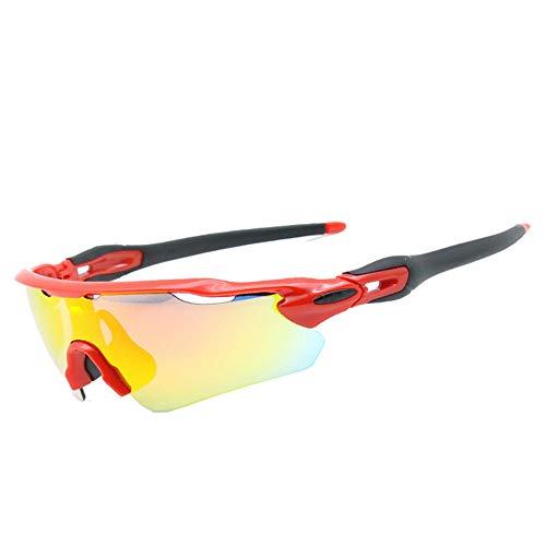 Polarisierte Sportsonnenbrille schützt Indemliche Sportgläser Sportbrillen geeignet für Männer und Frauen Radfahren Skifischen Golf,Red