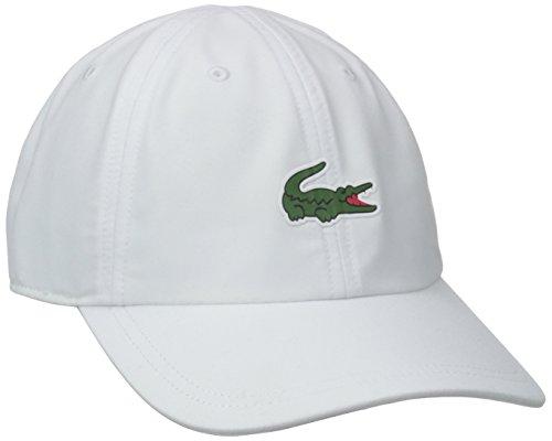 Lacoste Mens Sport Tennis Microfiber Crocodile Cap Baseball Cap, White, One Size