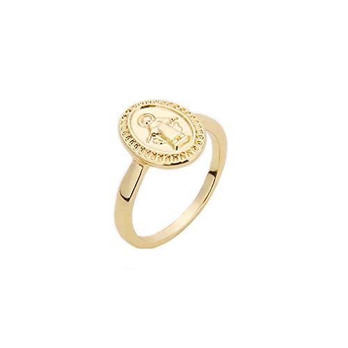 Pinhan - Anillo de medallón vintage de la Virgen María de alto pulido, ovalado, fino, para mujeres y niñas, accesorios de joyería 6# dorado
