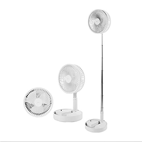 Ventilador de escritorio y piso, ventilador USB recargable con altura ajustable, ventilador oscilante, ventilador USB silencioso telescópico plegable portátil, con control remoto, para exteriores