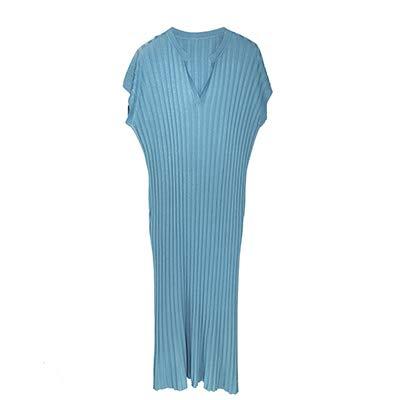 DYHSW Strickkleid mit Langen Ärmeln Lose Beiläufige Knit Etuikleider Damen Solide V-Ausschnitt Kurzarm Langes Kleid