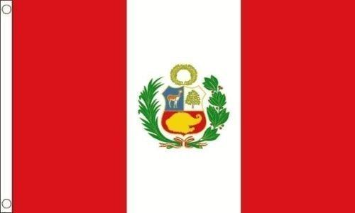 Pérou écusson 5ft x 3ft (150cm x 90cm) 100 % polyester drapeau + 59mm Insigne de bouton
