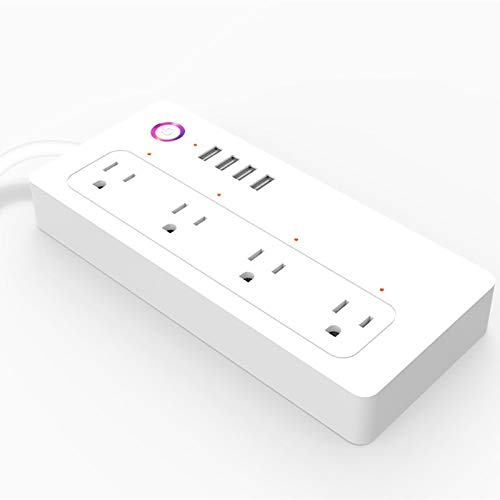 Power Strip, WiFi Smart Power Strip, WiFi Socket with 4 Outlets and 4 Fast Charging USB Port for Alexa and Google Home (Size : US)