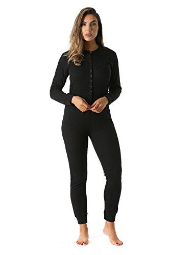 #followme Women's Thermal Henley Onesie Union Suit 6743-BLK-L Black