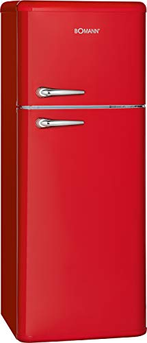 Bomann DTR 353 Doppeltür-Kühlschrank Retro-Style, EEK E, 208 L, Kühlen 160 L, Gefrieren 48 L, Höhe 143 cm, 184 kWh, rot