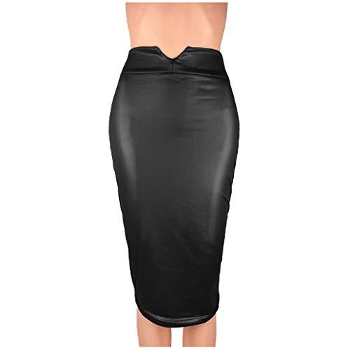 TUDUZ Falda De Cuero con Cuerpo para Mujer Falda Delgada Delgada De Oficina Falda hasta La Rodilla (Negro, L)