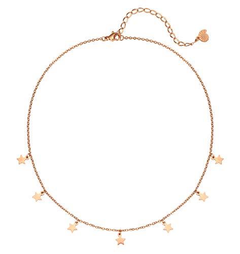 Happiness Boutique Damas Collar de Estrella en Oro Rosa | Collar Delicado con Colgantes de Estrella Pequeña Joyería de Acero Inoxidable