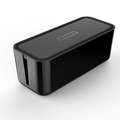 KEEPSORT® Extra Große Kabelbox für maximale Sicherheit im Haushalt - Kabel Organizer zum Verstauen von Steckdosenleisten, Ladeadaptern, Routern UVM. (XXL, Schwarz)