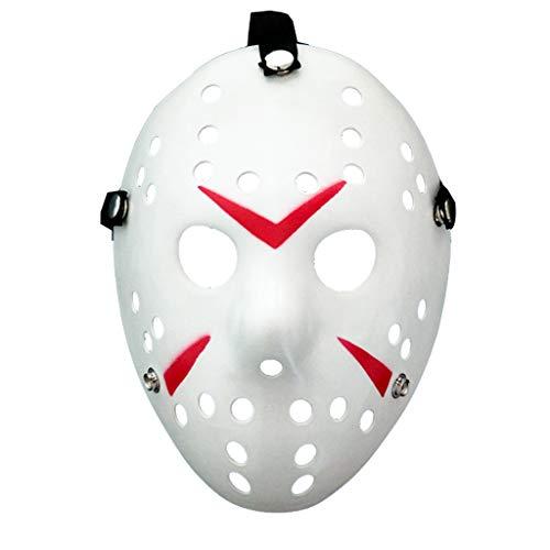 Amycute Halloween Máscara de Jason de Blanco y Rojo, Cosplay Disfraz Viernes 13 Máscara de Mascarada de Halloween para Niños, Adultos (Plástico Duro)
