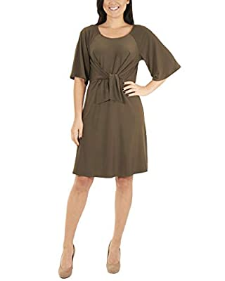 NY Collection Women's Raglan Elbow Sleeve Dress Olive