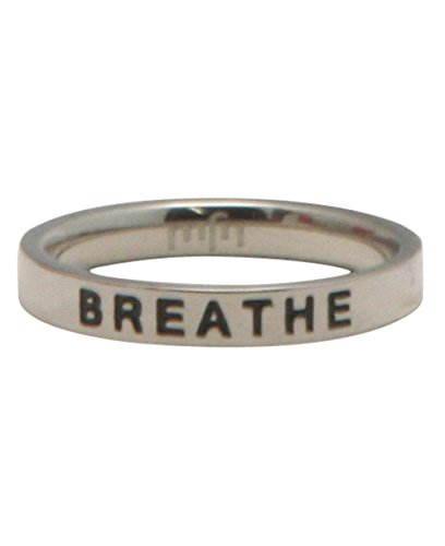 Buddha Groove Mindful Mantra Breathe Engraved Stainless Steel Inspirational Minimalist Meditation Ring | Band is 1/8 Inches Wide
