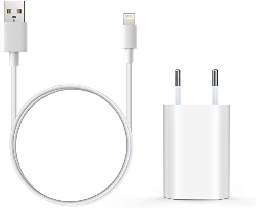 Everdigi Cargador Enchufe Adaptador USB + Cable de Carga para Phone 5 6 S 7 8 X S Plus 1M (Blanco)