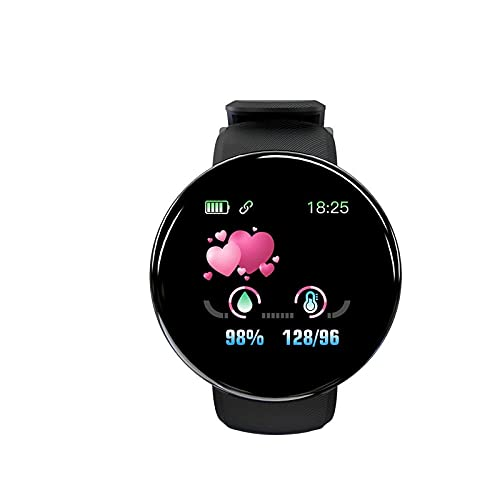 HuiBOYS Smartwatch Schlaf Fitness wasserdichte Uhr, Touch Farbdisplay, Schlafmonitor Stoppuhr für Damen Herren1,44 Zoll Verbesserter Bildschirm D18S BT4.0 (Black)