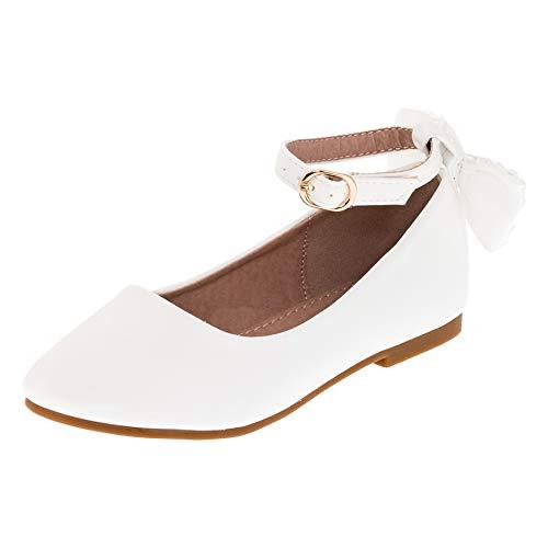 Dorémi Festliche Kinder Mädchen Ballerinas Schuhe mit Zierblume M420ws Weiß 33