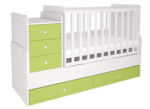 Polini Kids mitwachsendes Kombi-Kinderbett Gitterbett Babybett mit integrierter Wickelkommode und Wippfunktion: 60 x 120 cm oder 60 x 170 cm Matratzenmaß. Aus Birkenholz und MFC-Spannplatte. Weiß-Grün