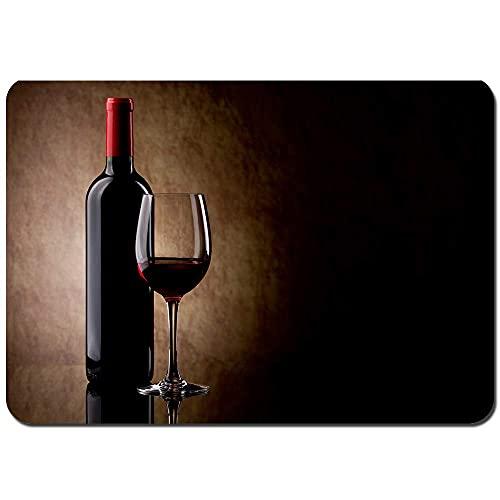 N\A Alfombra de Puerta de Piso de Inodoro de baño Botella con Vino Tinto y Vidrio y Uvas Alfombra Suave Antideslizante para Dormitorio Alfombra, Lavable a máquina,