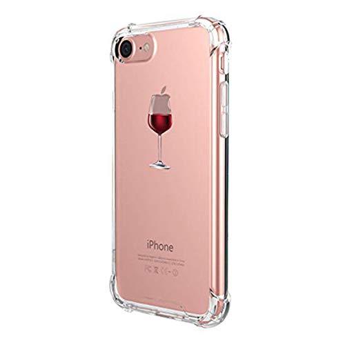 Alsoar Funda Compatible para iPhone 7,iPhone 8 Ultra Delgada Ligera Transparente Silicona TPU Gel Suave Carcasa Elegante Patrón Lindo Bumper Anti-Rasguño Protector Caso Case (Copa de Vino Tinto)