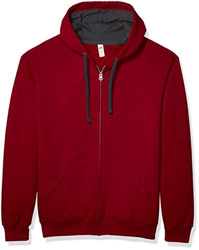 Fruit of the Loom Men's Full-Zip Hooded Sweatshirt, Cardinal, Medium