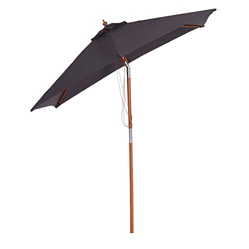 Outsunny 2 x 1.5m Patio Garden Parasol Sun Umbrella Sunshade Canopy Outdoor Backyard Furniture Wood Wooden Pole 6 Ribs Tilt Mechanism - Deep Grey