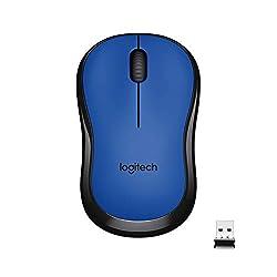 Logitech M221 Wireless Mouse, Silent Buttons, 2.4 GHz with USB Mini Receiver, 1000 DPI Optical Tracking, 18-Month Battery Life, Ambidextrous PC/Mac/Laptop - Blue,Logitech,910-004883