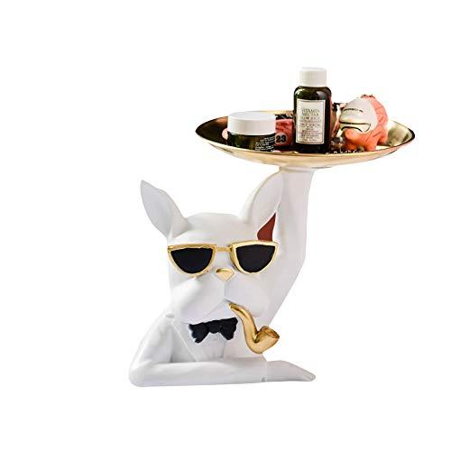KILIK Bulldog - Figura decorativa para llaves de animales de resina con arco de almacenamiento para dulces y porche de casa, 19 x 21 cm