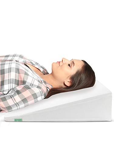 Cuña Antireflujo Adulto - Con Funda de Algodón OEKO TEX - Almohadas Para Reflujo ácido Dolor de Espalda, Alivio de los Ronquidos - Almohada Para la Cama de 90 CM Ideal para Dormir, Lectura (White)