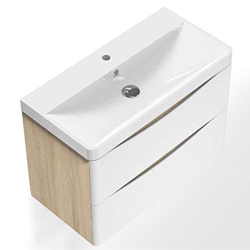 AICA sanitaire Meuble sous Vasque De Salle De Bain Suspendu Blanc et Bois Clair avec Lavabo Espace De Rangement 80cm