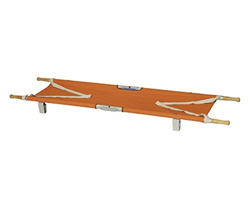 日本緑十字社 4ツ折りカラー担架 足付 オレンジ 62-3805-77/380280
