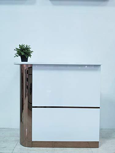 Mesa de Oficina Mostradores para Tiendas o Recepción Mueble Blanco con Brillo con Laterales Dorados (Izquierda)