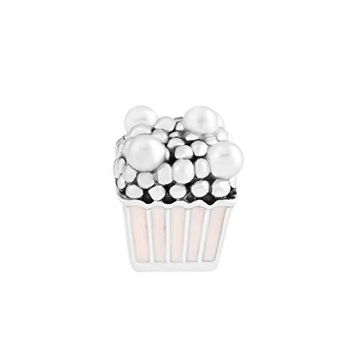 LILANG Pulsera de joyería 925 Pandora Perlas de Palomitas de maíz deliciosas Naturales Plata de Ley Perlas de Esmalte Rosa para Hacer Se Adapta a Perles Originales Pour DIY Regalos para Mujeres