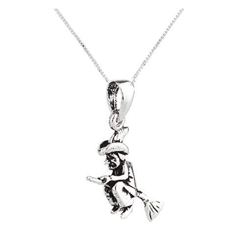 FIVE-D hanger met ketting kleine hekjes op bezem van 925 sterling zilver in sieradenetui